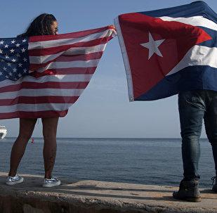 Banderas de Cuba y de EEUU