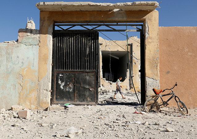 Las consecuencias del bombardeo en Idlib, Siria (archivo)