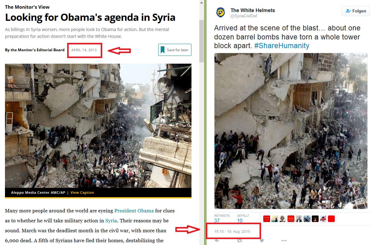 Compilación que evidencia una de las imposturas de imágenes en los informes de White Helmets