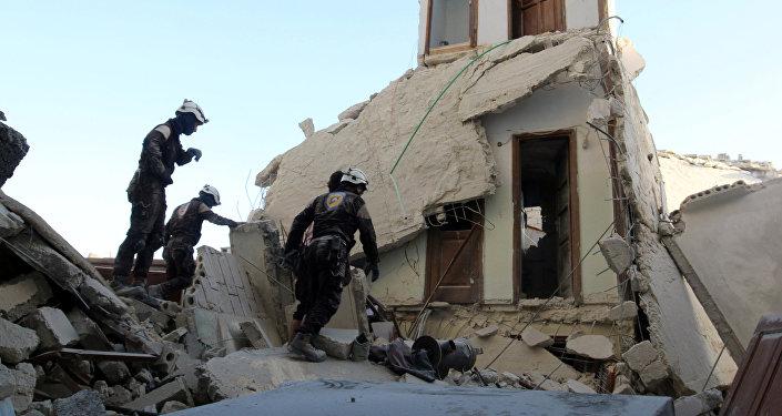 Edificio destruido en Alepo
