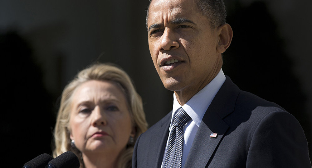 Barack Obama, presidente de EEUU y Hillary Clinton, candidata a la presidencia de EEUU