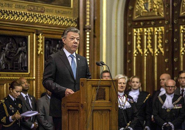 Juan Manuel Santos, el presidente de Colombia, da su discurso ante el Parlamento Británico
