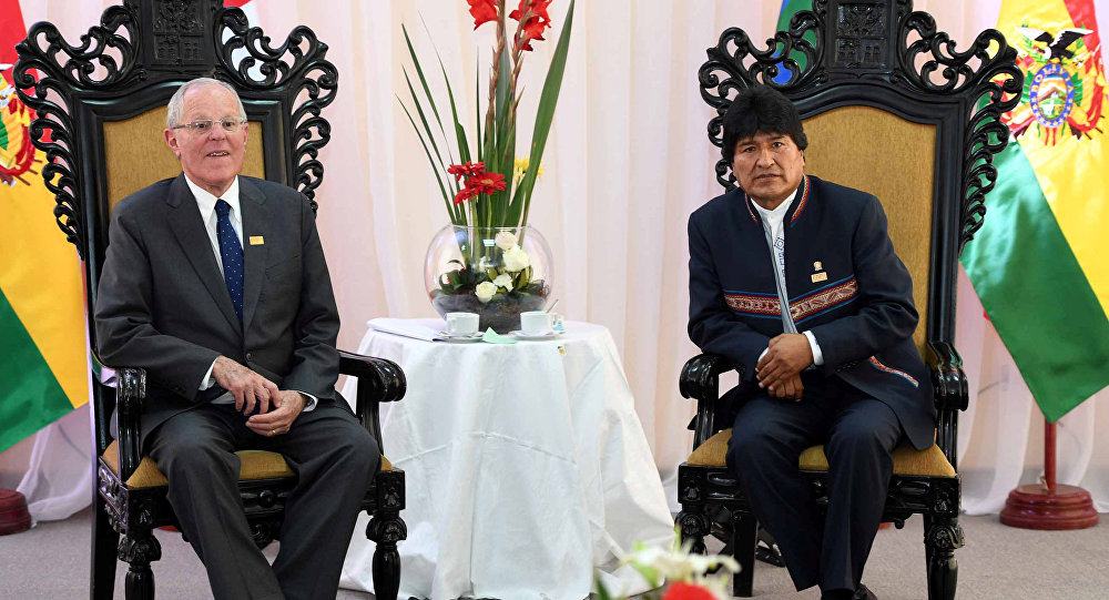 Evo Morales, presidente de Bolivia, con su par de Perú, Pedro Pablo Kuczynski