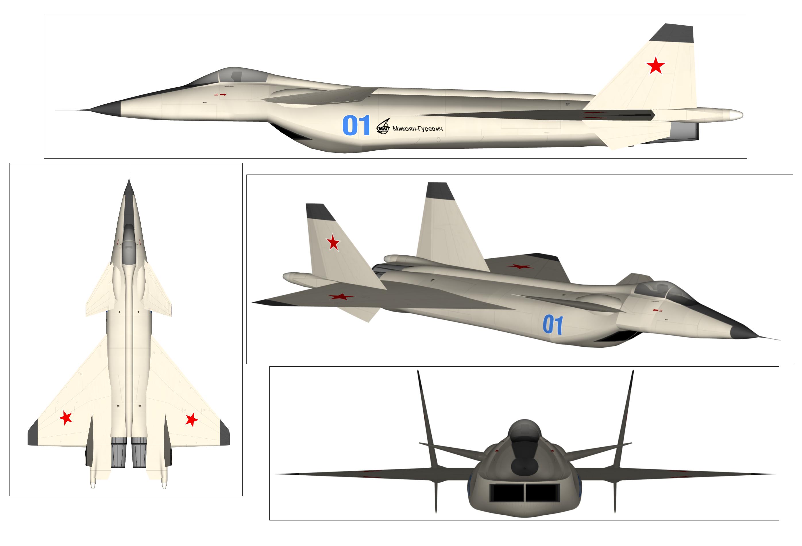 El modelo del MiG 1.44 en tres dimensiones