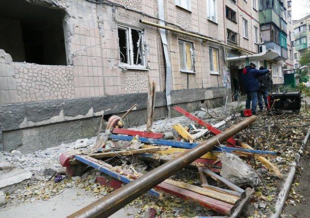 Consecuencias de bombardeo en Makéevka, Donbás