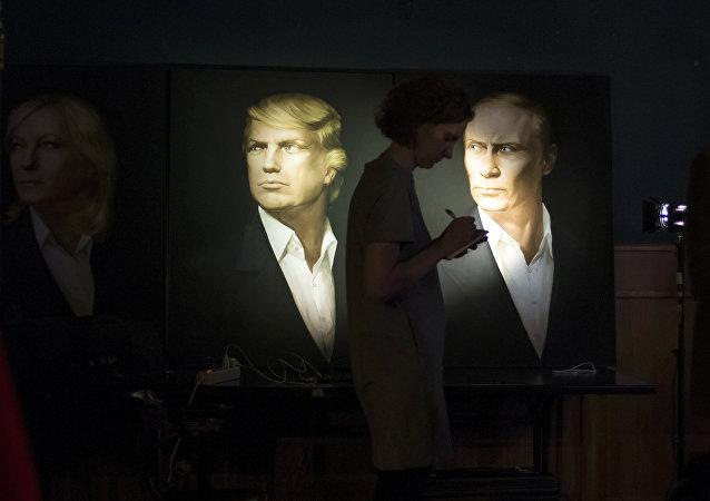 Los retratos de Donald Trump, presidente de EEUU, y de Vladímir Putin, presidente de Rusia