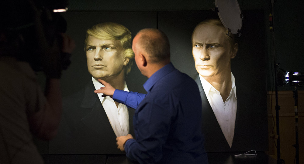 Retratos de Donald Trump y Vladímir Putin