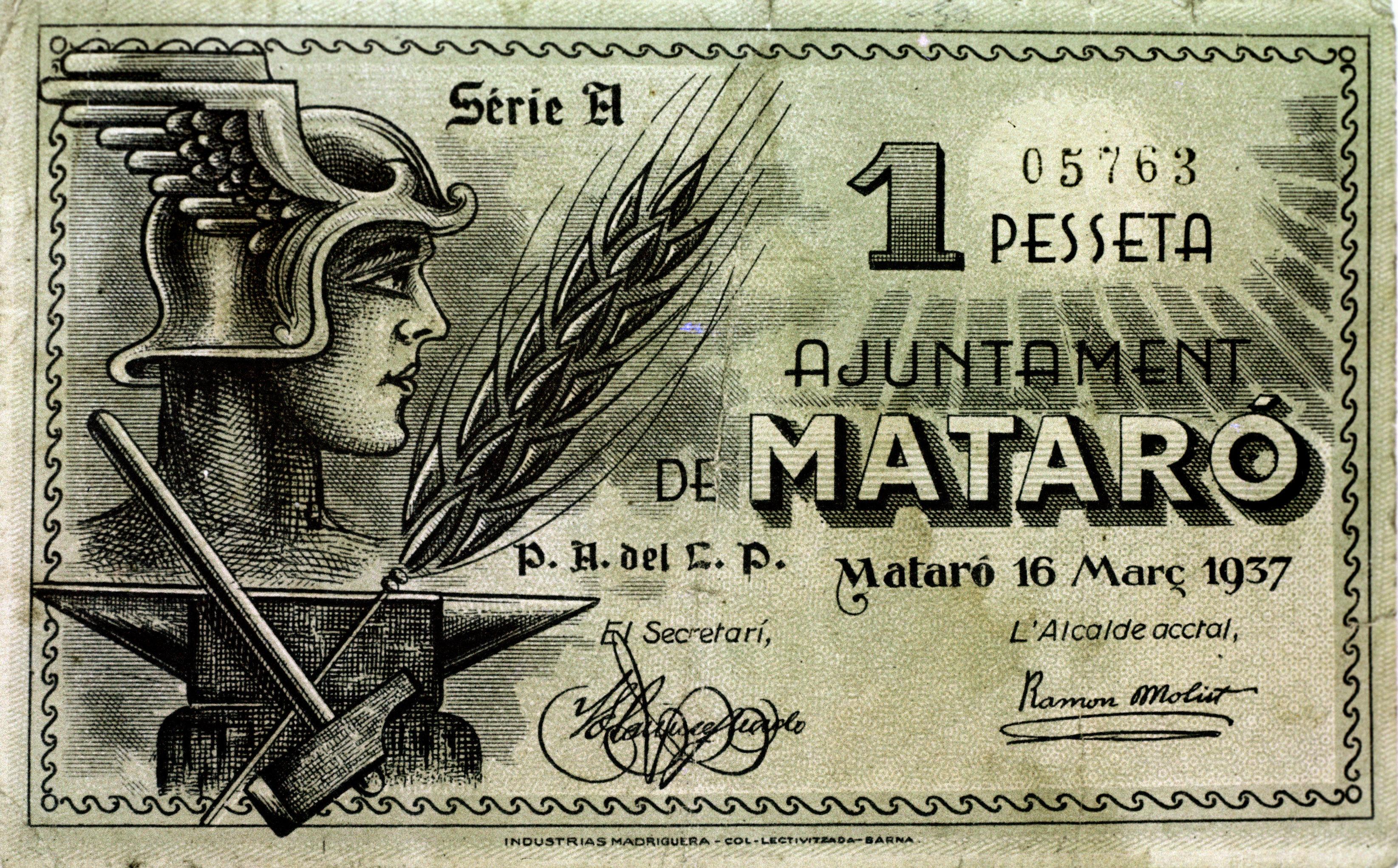 Dinero republicano usado durante la guerra civil española