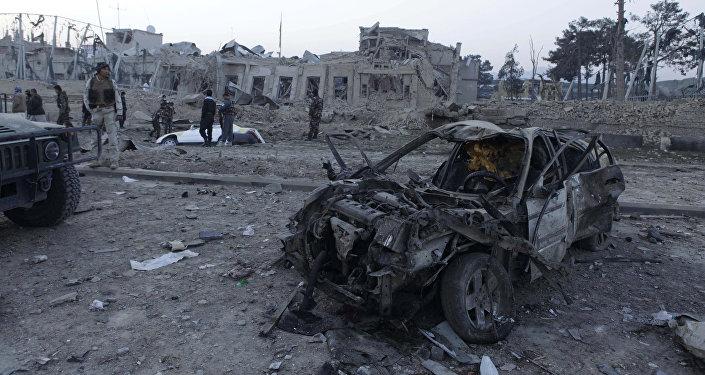 Lugar del ataque suicida contra el Consulado de Alemania en Afganistán