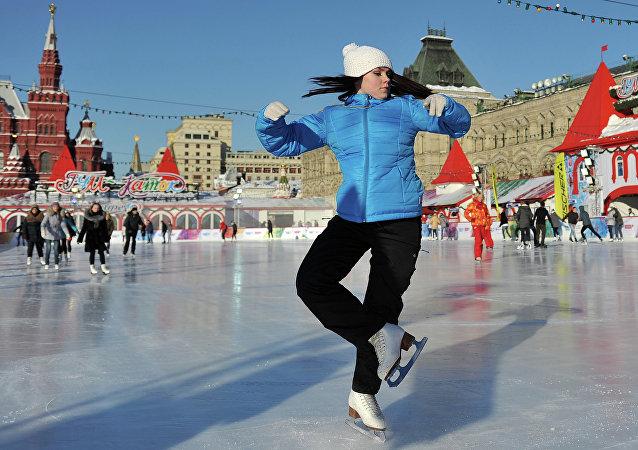La pista de hielo en la Plaza Roja