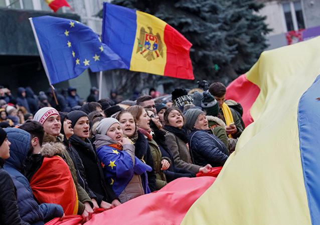 Seguidores de la asociación con la UE en Moldavia