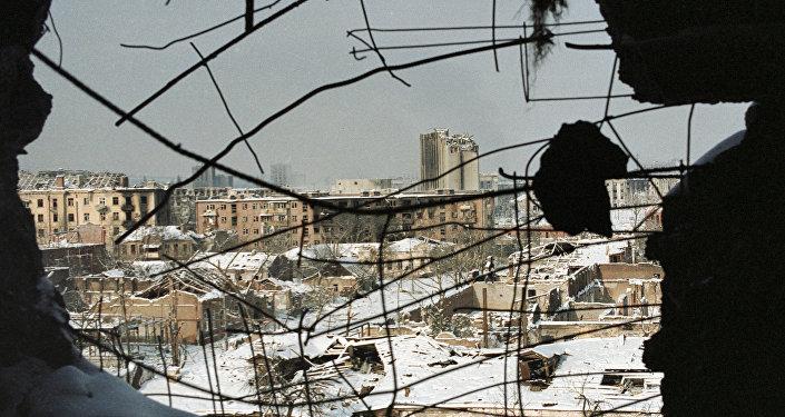 La destruida ciudad de Grozni, capital de Chechenia