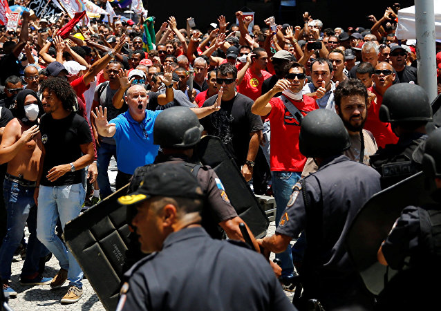 La manifestación en Río de Janeiro, Brasil