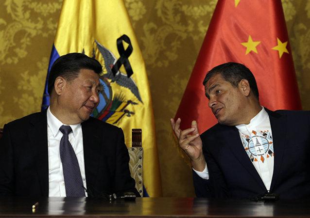 Presidente de China, Xi Jinping, y Rafael Correa, presidente de Ecuador