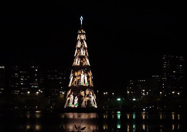 El monumental árbol de Navidad en Río de Janeiro (archivo)
