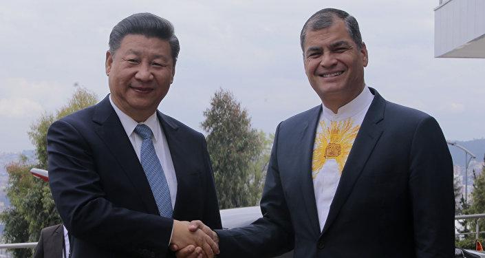 El presidente de China, Xi Jinping y el presidente de Ecuador, Rafael Correa