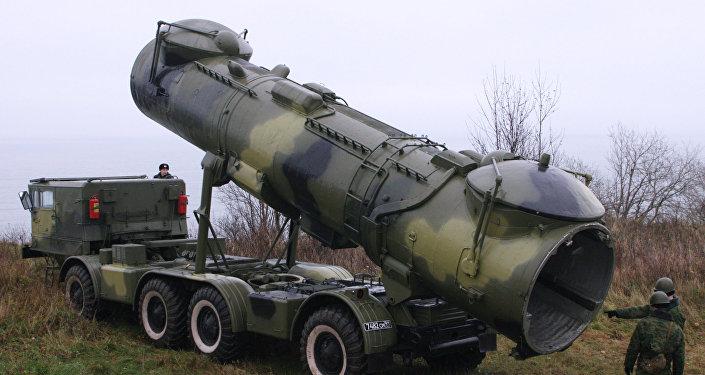 La variante móvil de la instalación de lanzamiento de los misiles de crucero P-35. Crimea está dotada con silos estacionarios para este tipo de municiones