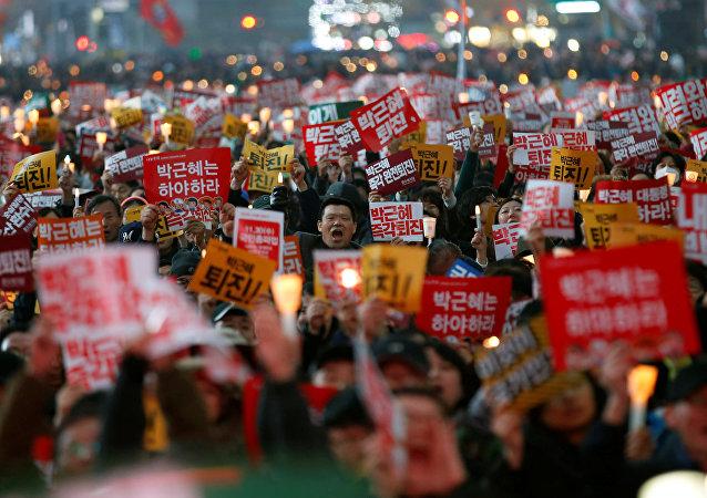 Las protestas en Seul