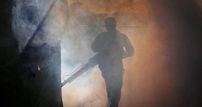 La fumigación de una casa para matar mosquitos durante una campaña contra el dengue