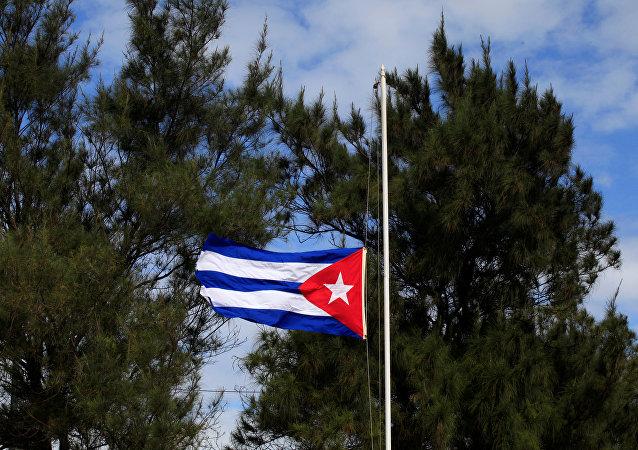 Bandera de Cuba a media asta por muerte de Fidel Castro