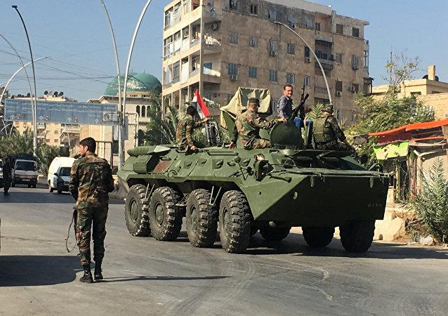 Los militares sirios en Alepo