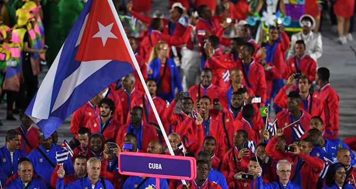 La delegación cubana en la ceremonia de la inauguración de los JJOO de 2016
