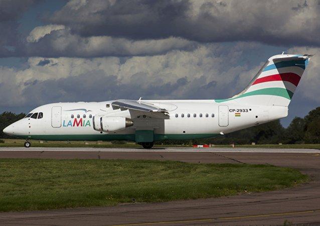 El avión RJ85 matrícula CP-2933 de la aerolínea boliviana LaMia