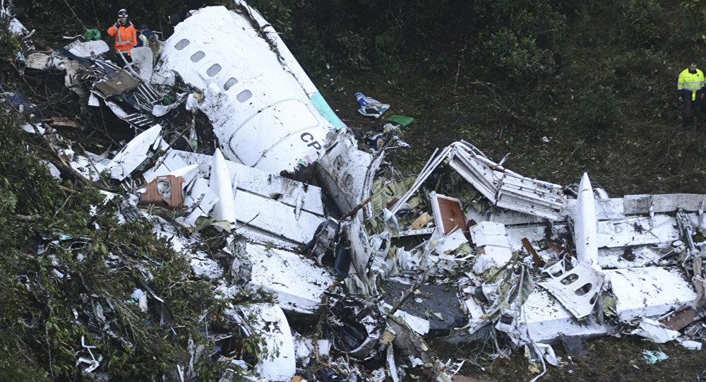 Restos del avión en el que iba el Chapecoense