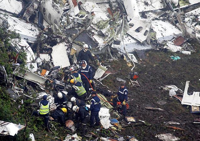 Lugar del siniestro del avión en el que viajaba el equipo brasileño Chapecoense