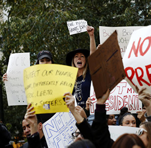 Una acción de protesta tras la victoria del republicano Donald Trump en las presidenciales