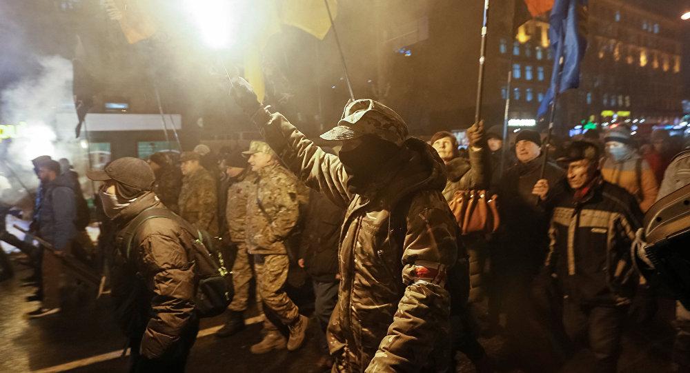 Una marcha de los activistas en Kiev