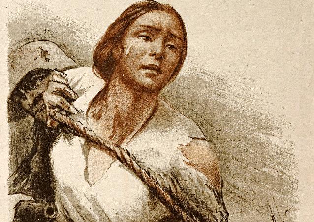 Cartel de los tiempos de la Gran Guerra Patria: los soldados fascistas esclavizan a las mujeres soviéticas