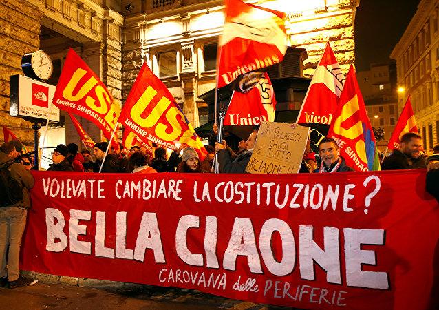 Una manifestación contra la aprobación de una reforma constitucional en Italia