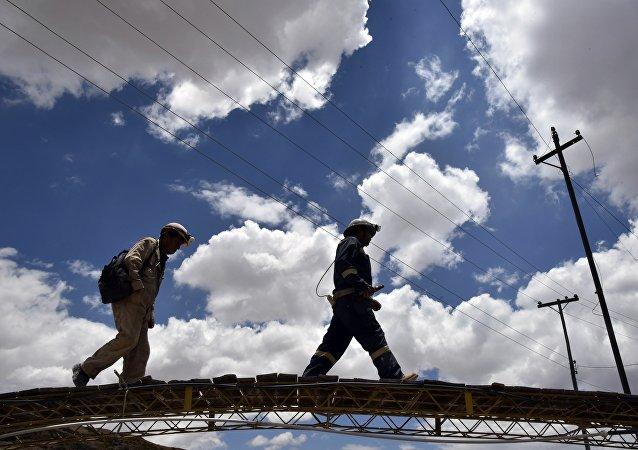 Mineros bolivianos en Oruro