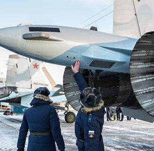 Los cazas de última generación SU-35 en todo su esplendor