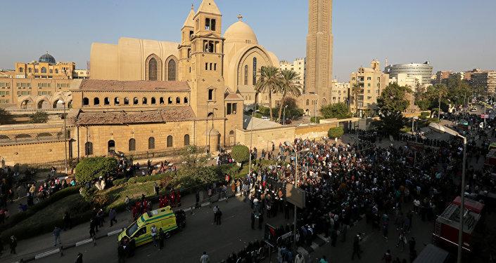 Protestas en la Catedral Ortodoxa Copta de San Marco, El Cairo