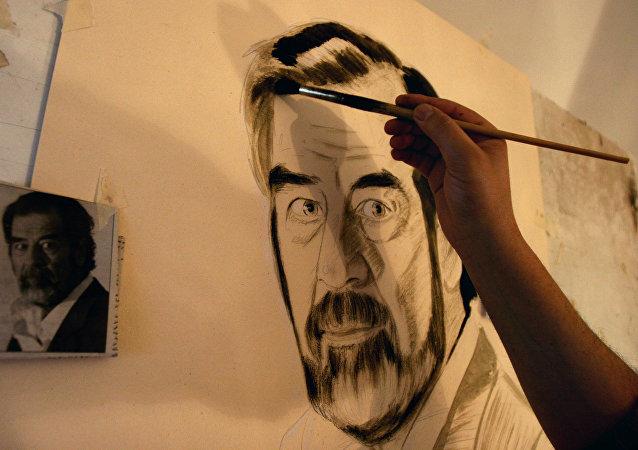 Retrato del exlíder iraquí, Sadam Husein