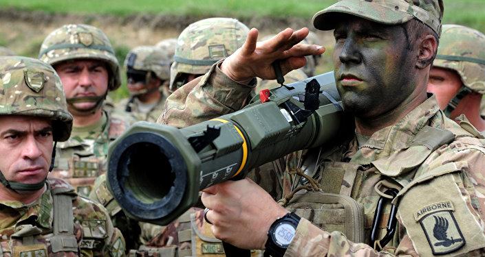 Militares estadounidenses en un campo de entrenamiento cerca de la ciudad de Tiflis, Georgia
