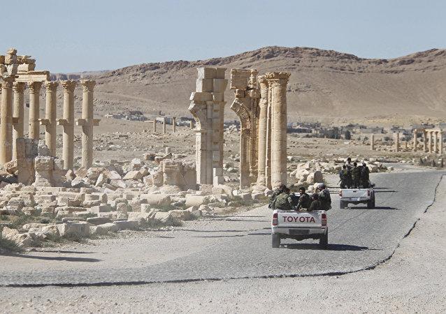 Soldados del Ejército sirio en Palmira (archivo)