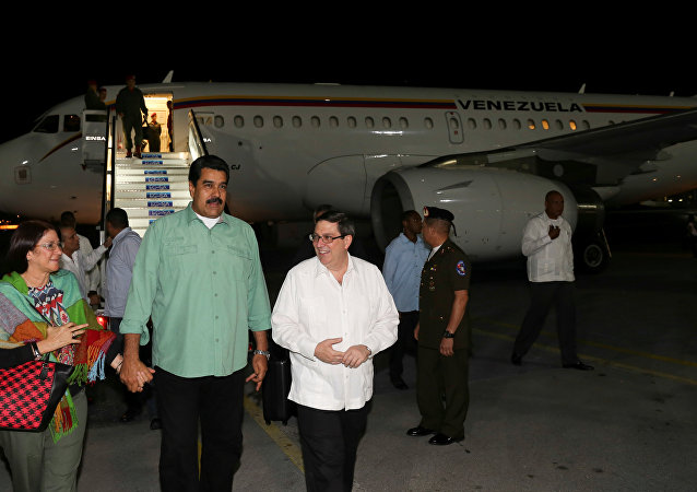 El presidente de Venezuela, Nicolás Maduro, arriba a Cuba