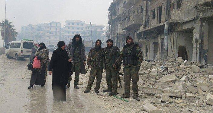 Militares del Ejército en Alepo