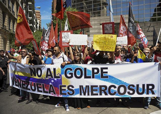 Una protesta contra la expulsión de Venezuela de Mercosur (archivo)