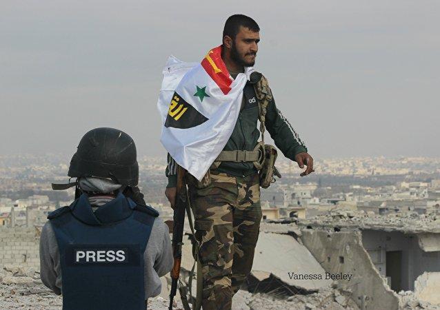 Soldado del Ejército sirio en Alepo
