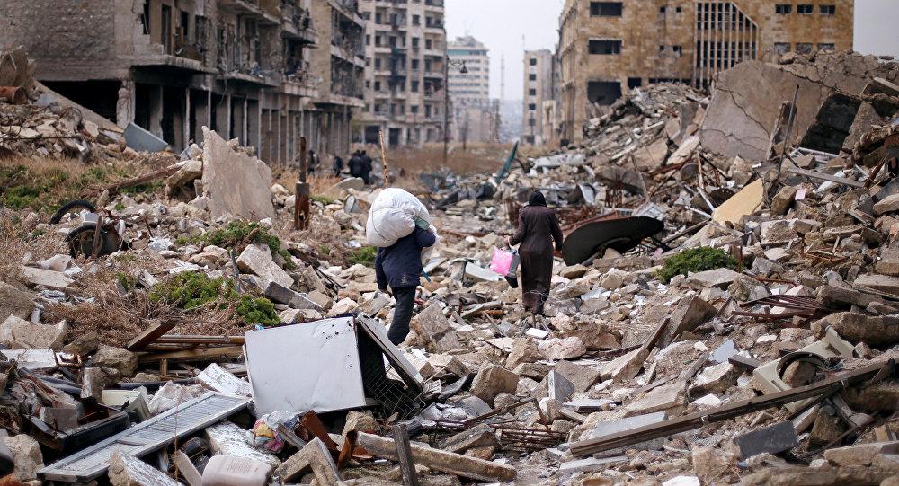 Ruinas en la ciudad siria de Alepo