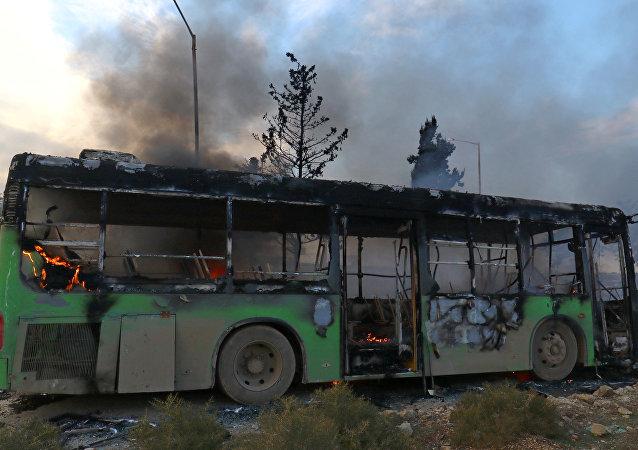 El autobús atacado