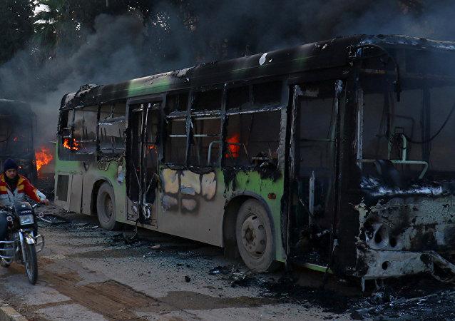 Un autobús quemado