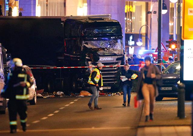 El lugar del accidente en Berlín