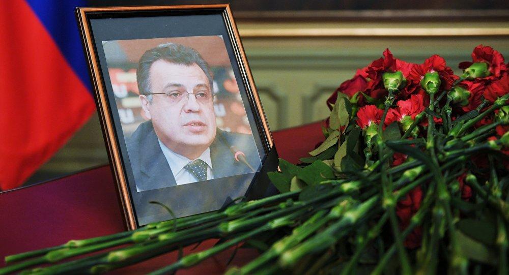 Foto de Andréi Kárlov, embajador de Rusia en Turquía, en el edificio del Ministerio de Asuntos Exteriores de Rusia