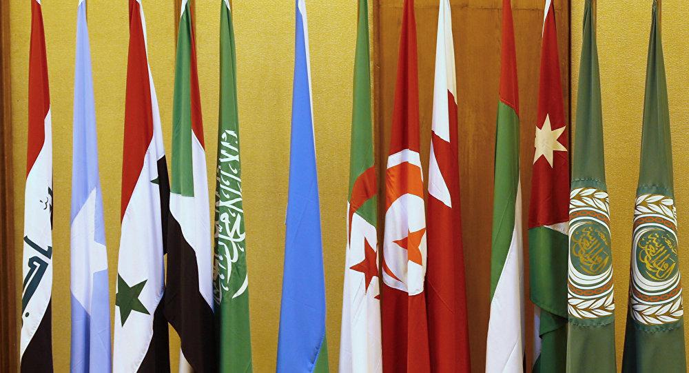 Banderas de los países de la Liga Árabe en El Cairo