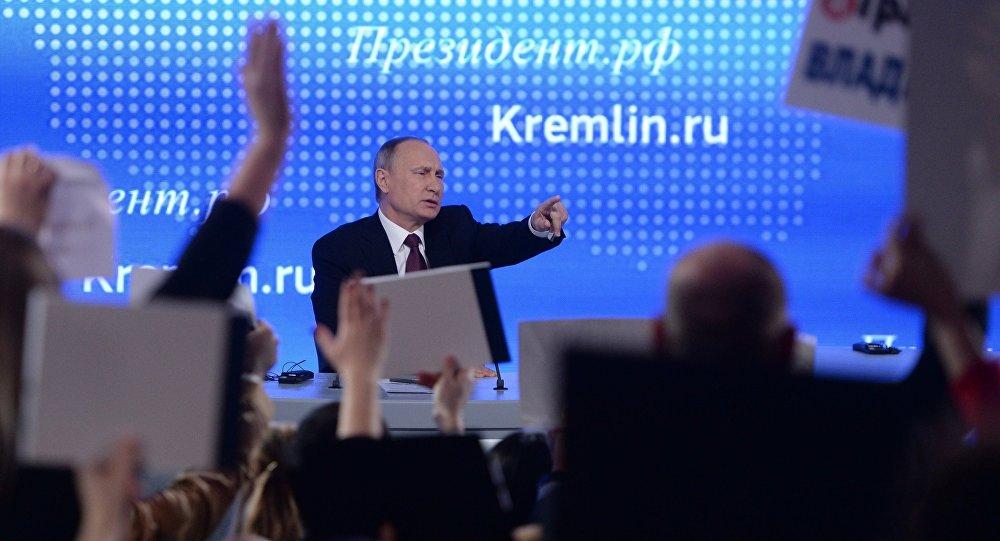 El presidente ruso Vladímir Putin responde a las preguntas durante la 12ª conferencia de prensa anual, 23 de diciembre de 2016